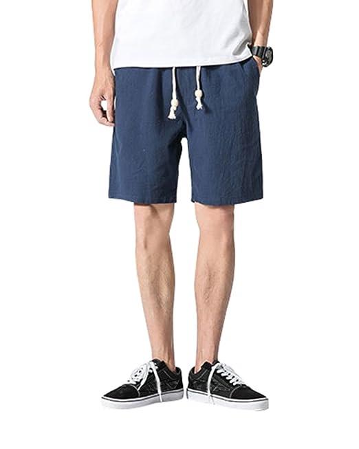 91fb358c3 Hombre Casual Shorts Cortos Pantalones Tallas Grandes Bermudas De Lino