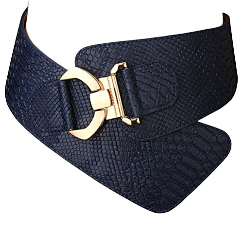 Women Girls 3 Size Leather Belt Fashion Textured Solid Color PU Leather Wide Waist Band Elastic Stretch Belts
