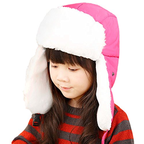 7482f2fec955a Unisex Kids Teens Girls Boys Faux Fur Winter Warm Trapper Hat with Ear  Flaps,Windproof Face Mask Fleece Thermal Outdoor Snow Ski Russian Ushanka  Cap ...