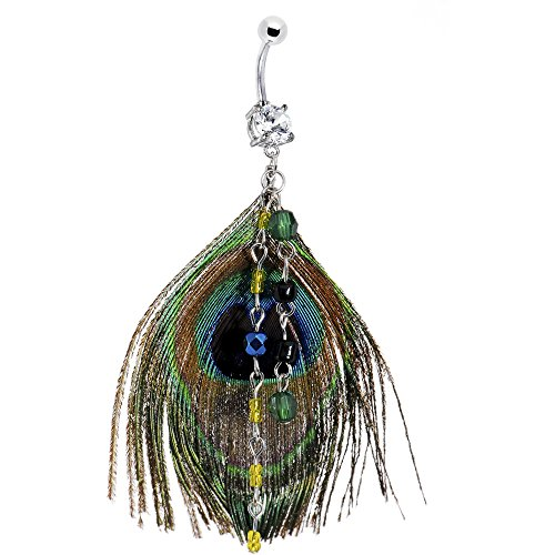 n Dangle Peacock Feather Belly Ring ()