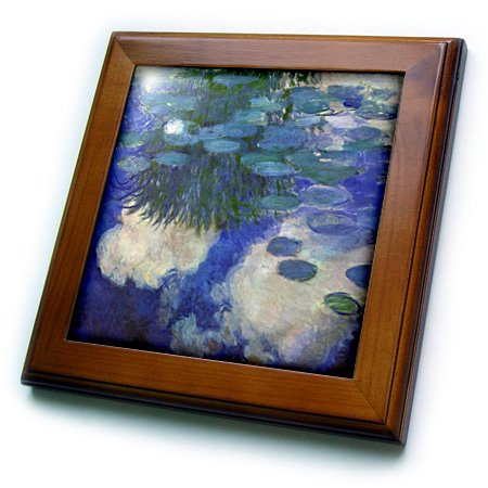 3dRose Print of Monet Painting Water Lilies Lilac-Framed Tile, 8 by 8
