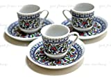 3 Espresso & Famous Turkish Coffee Café Cup Mug Floral Design Porcelain Set