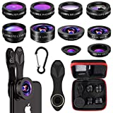 Phone Camera Lens,10 in 1 Cell Phone Lens Kit 0.63 Wide Angle Lens+0.36