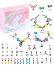 HiUnicorn Jewelry Craft Making Kit with Pink Unicorn Gift Box for Teen Girls, Silver Bracelets Necklaces Cute Horse Charms Rain bow Beads Handmade DIY Supplies Sets for Birthday Christmas School Day