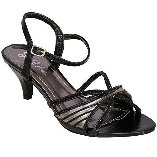 Ladies Diamante Shoes Sandal House Womens Buckle Glitter Kitten Heel Wedding Party Black - Sh1601