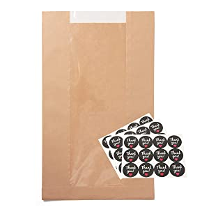 wexpw 25pc Toast Paper Bag, Kraft Paper Bread Bags with Window, Food Packaging Paper Bakery Bag for Loaf Pastry Cookies, Label Seal Sticker Included (13.8 x 8.3 x 3.5