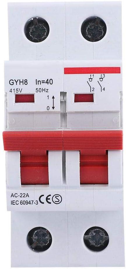 20A 415V AC 20A//25A//32A MCB Solarmodule Schaltkasten Schutzart IP20 Sicherungsautomat Leistungsschalter 2P Trennschalter Leitungsschutzschalter