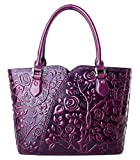 PIFUREN Women Top Handle Satchel Handbags Floral Tote Purse (Y72328, Violet)