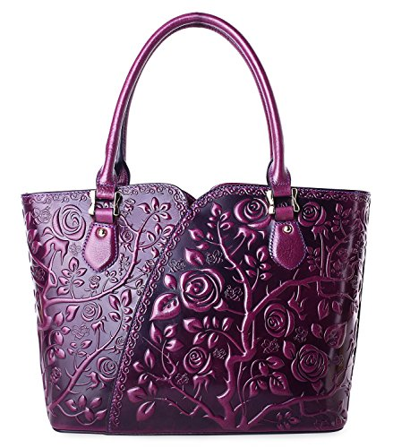 PIFUREN Women Top Handle Satchel Handbags Floral Tote Purse (Y72328, Violet) (Rose Leather Purse Purple)