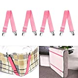 4PCS Bed Sheet Holder Straps Adjustable Heavy Duty Fasteners Grippers Mattress Strong Elastic Clip for Satin Sheet Mattress Covers Blankets (Pink)