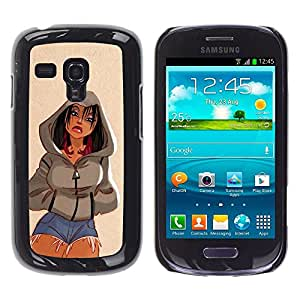 Cubierta protectora del caso de Shell Plástico || Samsung Galaxy S3 MINI NOT REGULAR! I8190 I8190N || Girl Woman Short Jeans Legs @XPTECH