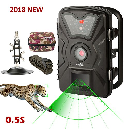 Game Trail Camera 1080P 12MP with Sound Scouting Camera with 2.4in LCD Screen No Glow Black Infrared Night Vision 0.5s Trigger Speed for Wildlife Hunting Monitoring and Farm Security (Black)