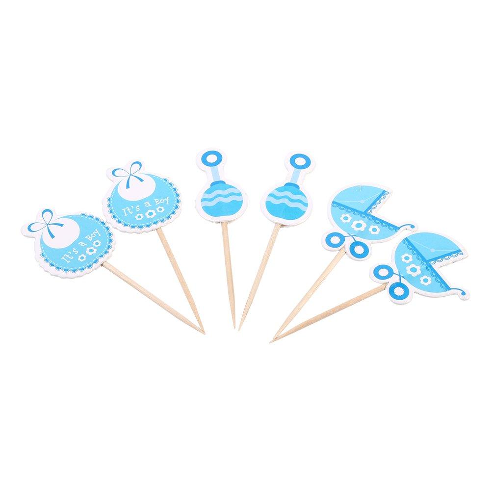 Zerodis Packung mit 50 Cupcake Toppers Kinderfeste Geburtstag Party Dekoration für Baby Boy/Girl(Blau)