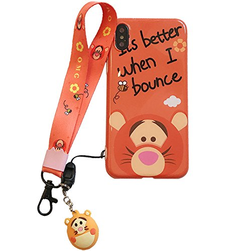 Ultra Slim Soft Tigger Case with Charm Strap for Apple iPhone XR iPhoneXR 6.1 Shockproof Shock Proof Smooth 3D Walt Disney Cartoon Winnie The Pooh Tiger Cute Lovely Cool Girls -
