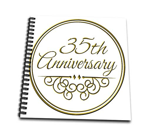 InspirationzStore–35th Anniversaryギフト–ゴールドのテキストの結婚–35年Celebratingの結婚しTogether–Drawing Book 4 by 4` db_154477_3