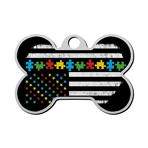 GcTck Personalized Double Sided Print Autism Awareness American Flag Dog Tags Pet ID Tag,Customizable Information Pet Badge for Dogs Cats ()
