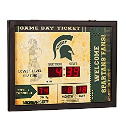 Team Sports America NCAA Bluetooth Scoreboard Wall Clock, Michigan State Spartans