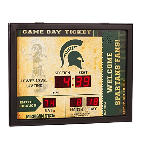 Team Sports America NCAA Bluetooth Scoreboard Wall Clock, Michigan State Spartans ()