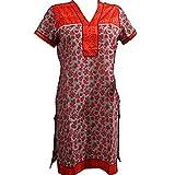 Indian Tunic Top Womens Kurti Orange Printed Cotton Kurta Long Dress Caftan S
