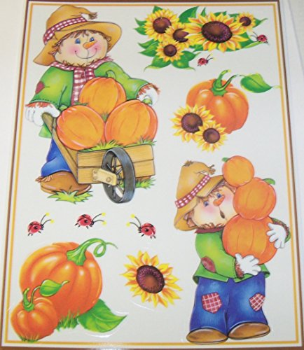 Give Thanks Reusable Window Clings ~ Scarecrows Harvesting Pumpkins, Sunflowers, Ladybugs! (9 Clings, 1 Sheet)