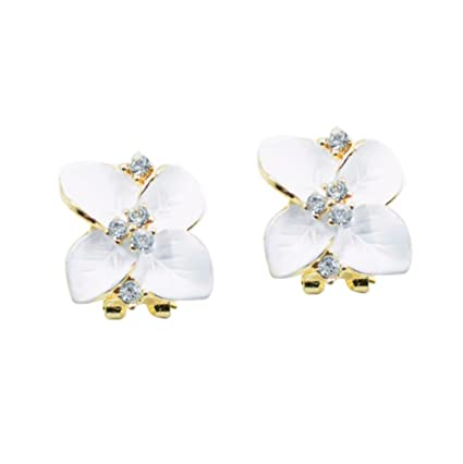 Yang Yi 2018 Fashion Jewelry Women Gardenia Flower Drop Crystal Earrings  Women Gift