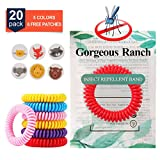 Gorgeous Ranch Mosquito Repellent Bracelets 20 Pack,100% Natural Deet-Free Waterproof Travel Insect Repellent Bands,Non-Toxic Safe Wristband, Outdoor Protection for Baby Kids and Adults