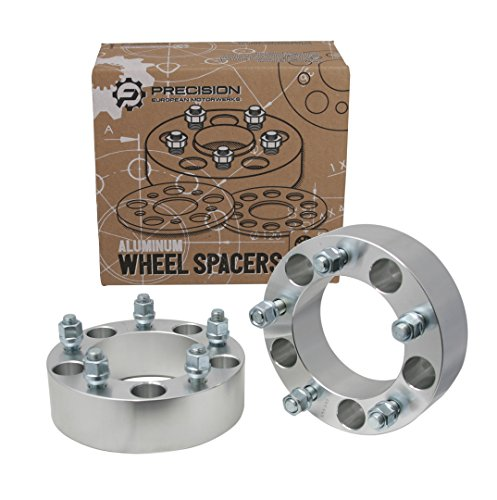 "(2) 1.5"" Wheel Spacers - 5x5.5 Bolt Pattern with 9/16"" studs - for Chrysler Aspen, Dodge Dakota Durango Ram 1500, Mitsubishi Raider (5x139.7) Silver Aluminum"