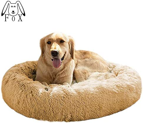 MFOX Calming Dog Bed XL XXL for Medium and Large Dogs Comfortable Pet Bed Faux Fur Donut Cuddler Up to 35 55lbs, Self-Warming and Washable Size 32 36
