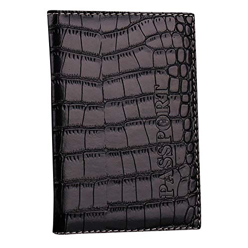ZOMUSAR Crocodile Pattern Travel Document Organizer & Passport Wallet Case, Family Passport Holder Id (Black)