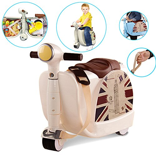 GOWIN Ride-on Luggage in One Toy,Learning Walker Rollator Portable Travel Case Suitcase Toy Case for Kids (Beige)