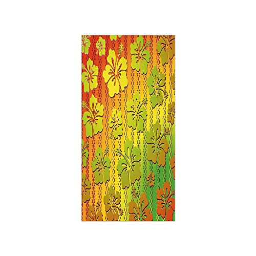 3D Decorative Film Privacy Window Film No Glue,Rasta,Hibiscus Exotic Jamaican Island Flower with Zig Zag Lines Print,Light Green Red and Marigold,for Home&Office