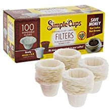 Disposable Filters for Use in Keurig® Brewers - Simple Cups - 100 Replacement Filters - Use Your Own Coffee in K-cups