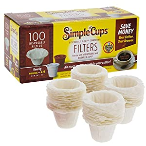 Disposable Filters for Use in Keurig Brewers - Simple Cups - 100 Replacement Filters - Use Your Own Coffee in K-cups