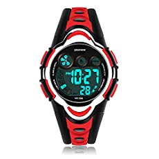 AZLAND Waterproof Swimming Led Digital Sports Watches for Children Kids Girls Boys,Rubber strap,Red