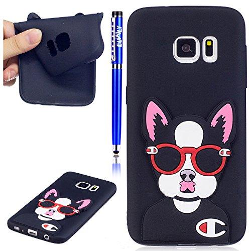 EUWLY Samsung Galaxy S6 Edge Funda, Samsung Galaxy S6 Edge Carcasa Silicona Creatividad Moda 3D Dibujos Animados Fruto Diseño Piña Suave TPU Silicona Caso Piel Cubierta para Samsung Galaxy S6 Edge, Ul Gafas Perro