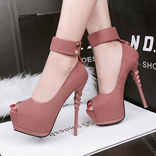Aisun Damen High Heels Peep Toe Stiletto Plateau Damenschuhe Knöchelriemen Pumps für Party Pink