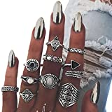 gerba Women Girls Vintage Retro Silver Knuckle Ring Jewelry Ring Set, 10pcs
