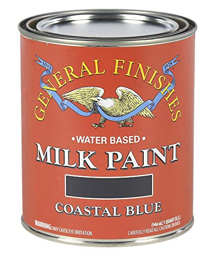 (General Finishes QCB Water Based Milk Paint, 1 Quart, Coastal Blue )