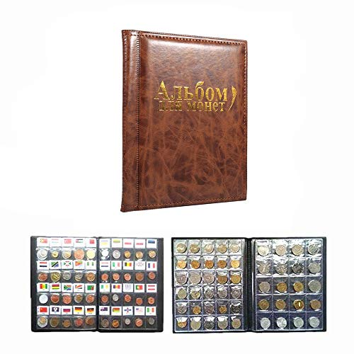 10 Pages Coin Album Coin Collectors 250 Pockets for Coin Storage Coin Collection Book Russian Language (Color : Brown)