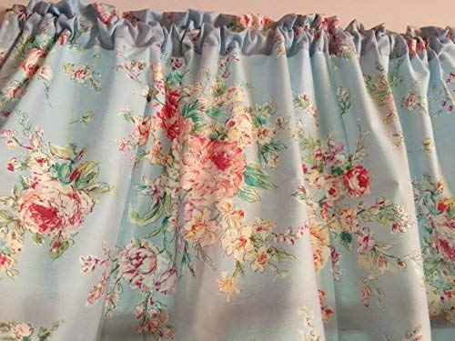 Powder Blue Shabby Chic WINDOW CURTAIN VALANCE HandMade in the USA from COTTON FABRIC