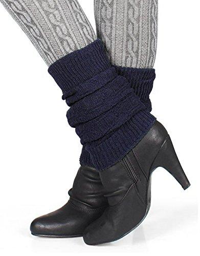 Distressed Damen Winter Stulpen mit Wolle Legwarmer (navy)