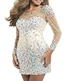 BKSKK Women's Sexy Cocktail Dresses Long Sleeves Crystal Short Sheath Prom Gown (US 20w)