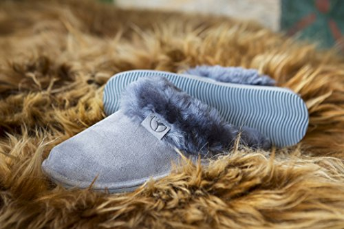 Estro Sheepskin Womens Slippers Ladies Wool - Leather Mule Boots Slides Warm Fleece Fur Fluffy Booties Intimo Grey 5xnZBU935