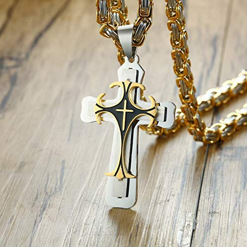 Cross Necklace for Men | Gold Stainless Steel Chain | Catholic Crucifix Pendant | Male Punk Rock Ornaments
