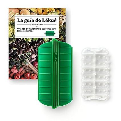 Lékué Kit Estuche de Vapor con Libro y Bandeja, Silicona, Verde Esmeralda, 1