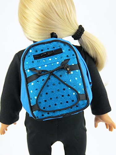 Teal Sequin Backpack 18 Inch Doll Clothes - Fits 18