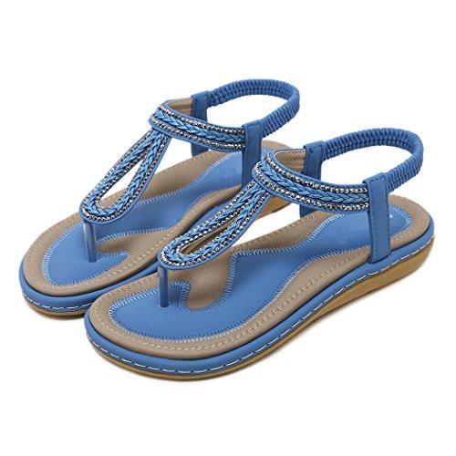 Style Dans Un Pour D'été La Bleu Zonlin Women Tongs Bohème Plage qHwEFZI6