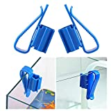 squarex 2PCS Plastic Aquarium Tank Water Pipe Clamp Hose Tube Rod Fixing Clip Mount Holder (Bule)