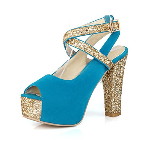 AIKAKA Zapatos de Mujer Primavera Verano Lentejuelas de Gamuza Tacón Alto Grueso con Boca de Pescado Sandalias de Punta Abierta Blue