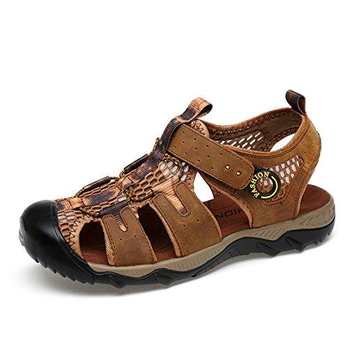 Xing Lin Sandalias De Verano Los Hombres Calzado De Playa _ Sandalias Para Hombres Sandalias De Cuero Zapatos Casual Hombres Verano Deportivo Light brown